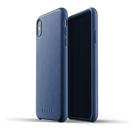 Carcasa piel iPhone Xs Max Mujjo Full Leather Azul
