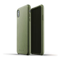Carcasa piel iPhone Xs Max Mujjo Full Leather Verde Oliva
