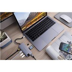 Conector Hub USB-C HyperDrive 8 en 1 gris plata