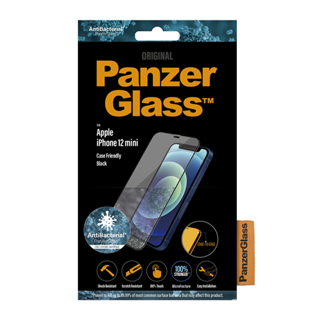 Cristal templado Panzer Glass iPhone 12 Mini Case Friendly negro