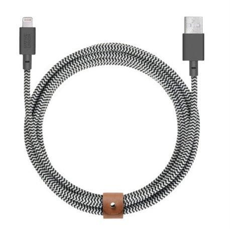Native Union Belt XL Cable Lightning a USB-A zebra