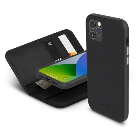 Moshi Overture funda piel con billetera iPhone 12 Pro Max negra