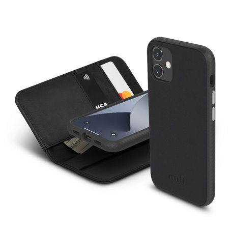 Moshi Overture funda piel con billetera iPhone 12 Mini negra