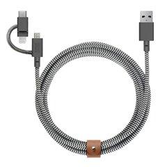 Native Union Belt Cable Universal 3 en 1 zebra (2 metros)