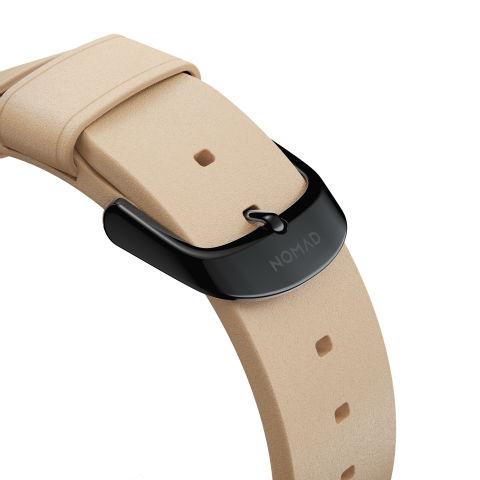 Detalles de cierre y de la correa Nomad Modern Slim para Apple Watch 38/40 mm en color beige