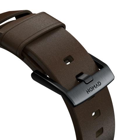 Detalles de grabado en hebilla de las correas Apple Watch de Nomad