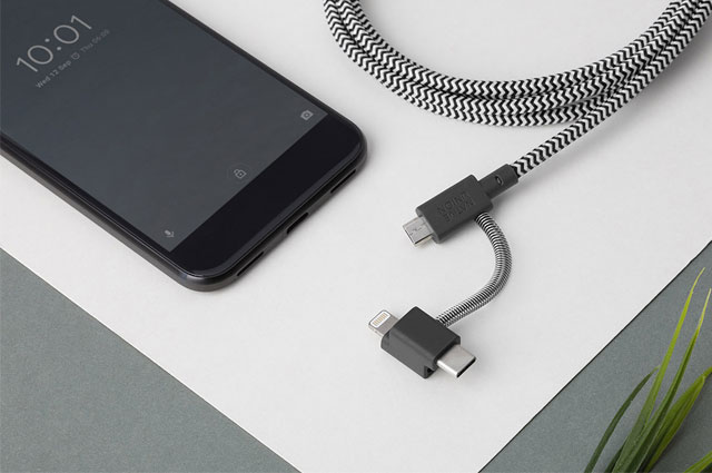 Native Union Belt Cable Universal 3 en 1, Lightning, USB-C y Micro-USB